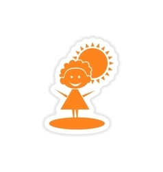 Icon sticker realistic design on paper girl sun vector