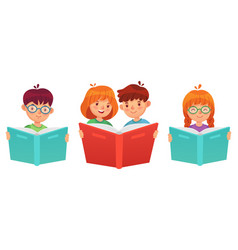 kids reading book education boy girl vector image