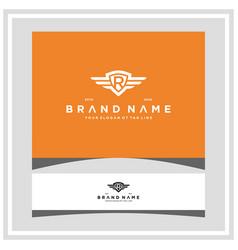 Letter r shield wing logo design concept vector
