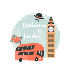London background design with red bus big ben vector
