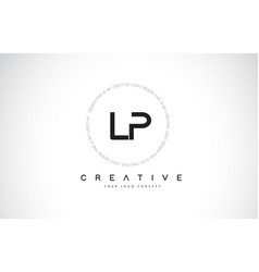 Lp l p logo design with black and white creative vector