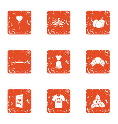 Lust icons set grunge style vector