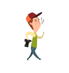Male photographer with photo camera whistling vector