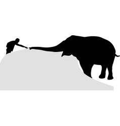 Man and elephant vector