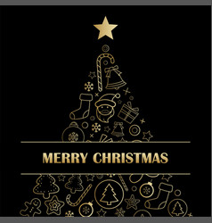 merry christmas greeting card and party vector image