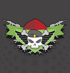 military logo skull with wings on the shield vector image