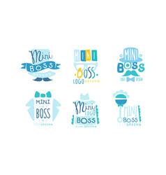 Mini boss logo design templates collection cute vector