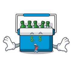 Money eye freezer bag mascot cartoon vector