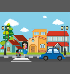 Mother and baby crossing road in the city vector