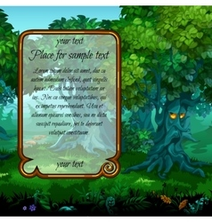 Mystical nature and frame for text on left vector