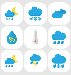 Nature flat icons set collection of rain vector