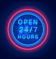 Neon signboard 24 7 open hours vector