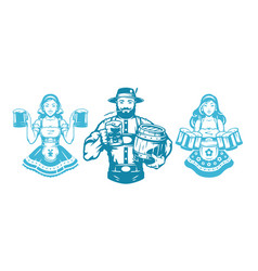Oktoberfest people man and woman silhouettes in vector