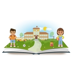 Opened book with school and two children vector