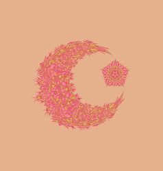 Oriental pattern moon and stars islam arabic vector