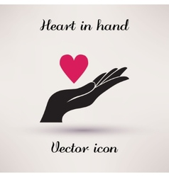 Pictograph of heart in hand icon Template for vector image