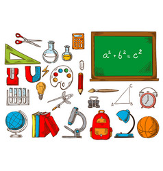 school and education supplies sketches vector image