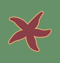 Sea star sign cordovan icon and mellow vector