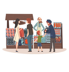Seafood market with freshness fish products on vector