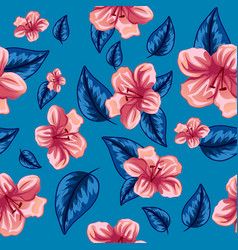 Seamless pattern tropical pink flowers vector