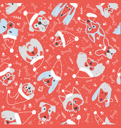 Seamless pattern with dogs in santa hat vector