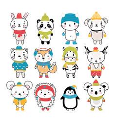set cute hand drawn animals at winter clothes vector image