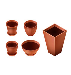 set of empty ceramic brown flowerpots for vector image