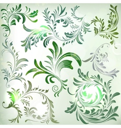 Set of vintage colorful floral branches vector image