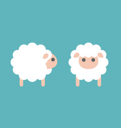 set sheep icon in side and front vector image