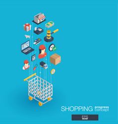 shopping integrated 3d web icons growth and vector image