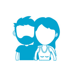 silhouette couple lover together with hairstyle vector image