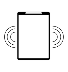 silhouette mobile phone wifi internet signal vector image