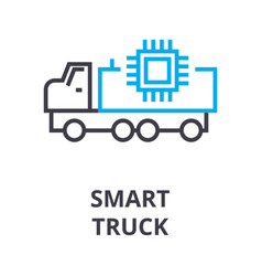 smart truck thin line icon sign symbol vector image