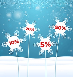 Snowflakes in the form of flowers with sale vector image