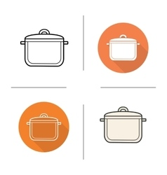 Stew pot flat design linear and color icons set vector