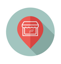 Supermarket store front pin map icon vector