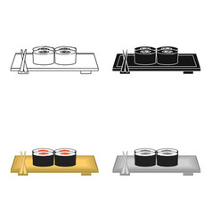 Sushi icon in cartoon style isolated on white vector