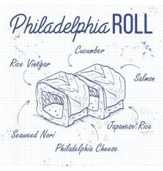 Sushi sketch Philadelphia rolls vector