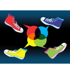 Teenager sneakers social media vector
