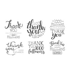 thank you for your support retro monochrome labels vector image