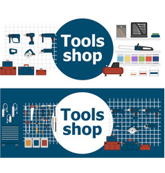 tools shop banners with instruments vector image