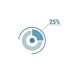 twenty five percent chart 25 percentage diagram vector image