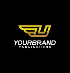 u letter logo with golden winged vector image