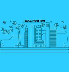 United states houston winter holidays skyline vector