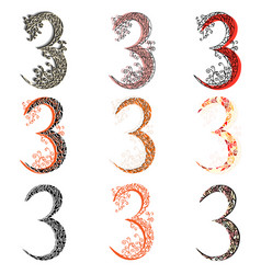 Various combination numeric figures 3 vector