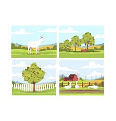 village scenes semi flat set vector image