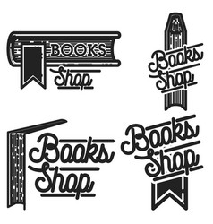 Vintage books shop emblems vector