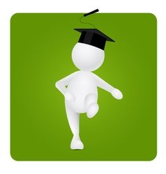 Walking happy graduates on green frame vector
