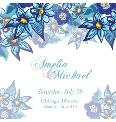 Wedding invitation card with blue flowers vector