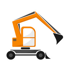 wheel orange excavator with dipper single vector image